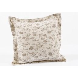 Bouton Jaune *Cache-Oreiller 14x14 Pouces, Plume de Bouton Jaune/Bouton Jaune Plume 14x14 Inches Pillow Cover, Café/Coffee