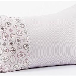 Bouton Jaune *Bouton Jaune - Cache-Oreiller 13x20 Pouces, Céleste/Céleste 13x20 Inches Pillow Cover, Aubergine, Rayures et Médaillons/Eggplant, Stripes and Medallions