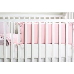 Bouton Jaune *Bouton Jaune - Demi-Bordure de Lit en Coton Organique, Mon Petit Loup/Mon Petit Loup Bed Half Bumper, Rose/Pink