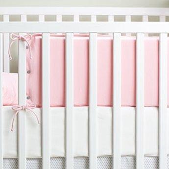 Bouton Jaune Bouton Jaune - Demi-Bordure de Lit en Coton Organique, Mon Petit Loup/Mon Petit Loup Bed Half Bumper, Rose/Pink