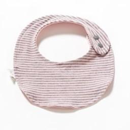 Bouton Jaune *Petit Bavoir en Coton Organique de Bouton Jaune/Bouton Jaune Small Organic Cotton Bib, Rayé Rose et Gris/Pink and Grey Stripes, Taille Unique/One Size