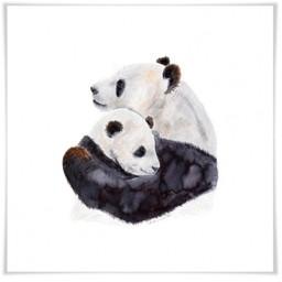 Oopsy Daisy Oopsy Daisy - Toile Maman et Bébé Pandas 11.75x11.75 Encadrée/Silver Leaf Framed 11.75x11.75 Mom and Baby Pandas Art Prints