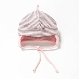 Bouton Jaune *Bouton Jaune - Chapeau à Cordons/Cords Hat, Rose et Gris/Pink and Grey, 3-6 Mois/Months