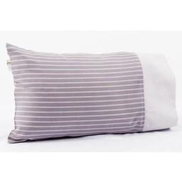 Bouton Jaune *Bouton Jaune - Couvre-Oreiller 12x16 Pouces, Céleste/Céleste 12x16 Pillow Cover, Rayures Aubergine/Eggplant Stripes