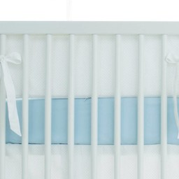 Bouton Jaune Bouton Jaune - Demi-Bordure de Lit, Trois Petits Pois/Trois Petits Pois Bed Half Bumper, Pois Bleus/Blue Dots