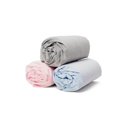 Bouton Jaune Bouton Jaune - Drap Contour et Taie en Coton/Cotton Fitted Sheet and Pillowcase, Rose/Pink