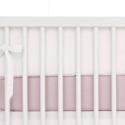 Bouton Jaune Demi-Bordure de Lit, Toi Moi Coco de Bouton Jaune/Bouton Jaune Toi Moi Coco Bed Half Bumper, Rose à Pois Crème/Pink with Cream Dots