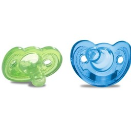 The First Years The First Years - Paquet de 2 Suces pour Nouveau-Né GumDrop/2 Pack GumDrop Newborn Pacifier, 0-3 mois/months, Bleu et Vert/Blue and Green