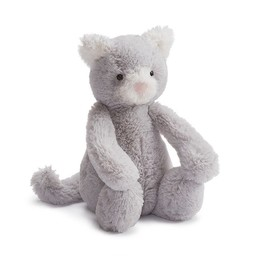 Jellycat Chaton Bashful de Jellycat/Jellycat Bashful Kitty, Gris/Grey, Mini/Small. 7 pouces/inches