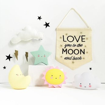 A Little Lovely Company Mini Veilleuse Lune A Little Lovely Company/A Little Lovely Company Mini Moon Light, Jaune/Yellow