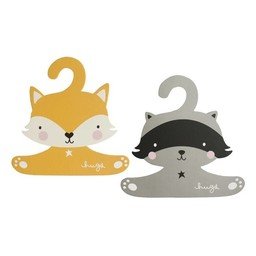 A Little Lovely Company *Cintres Raton Laveur et Renard A Little Lovely Company/A Little Lovely Company Raccoon and Fox Coat Hanger Set