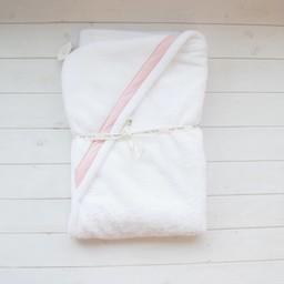 Bouton Jaune *Sortie de Bain de Bouton Jaune/Bouton Jaune Hooded Towel, Rose à Pois/Pink Dots, Petite/Small