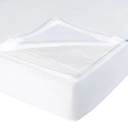 Quickzip Drap Contour avec Zip pour Lit de Bébé Quickzip/Quickzip Crib Zipper Sheet Set, Blanc/White