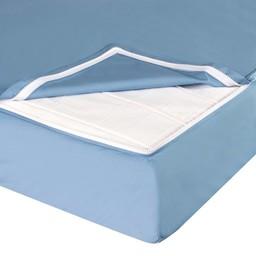 Quickzip QuickZip - Drap Contour avec Zip pour Lit de Bébé/Crib Zipper Sheet Set, Bleu/Blue