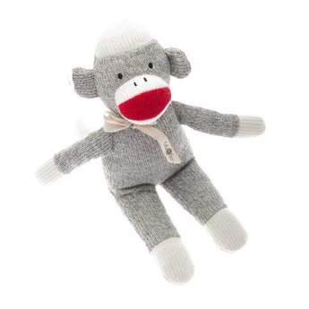Beba Bean Toutou Singe Bas Gris/ Sock Monkey Rattle Grey