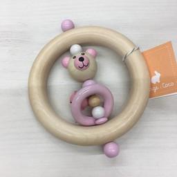 Orange et Coco Hochet en Bois de Orange et Coco/Wood Rattle by Orange and Coco, Ours Rose Pâle/Light Pink Bear