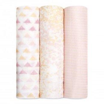 Aden + Anais *Paquet de 3 Couvertures Douces et Soyeuses de Aden et Anais/Aden et Anais 3-Pack Silky Soft Swaddles, Metallic Primrose Birch