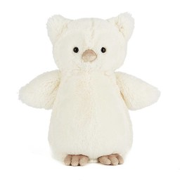 Jellycat Hibou Bashful de Jellycat/Jellycat Bashful Owl, Crème/Cream, Mini/Small, 7 pouces/inches