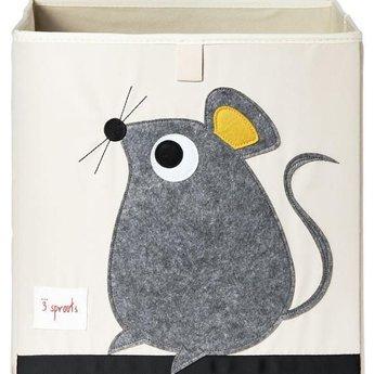 3 sprouts 3 Sprouts - Boîte de Rangement/Storage Box, Souris Grise/Grey Mouse