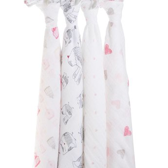 Aden + Anais Ensemble de 4-Couvertures Aden et Anais/Clasic Swaddle 4-Pack Aden and Anais, Tourtereaux/Lovebird