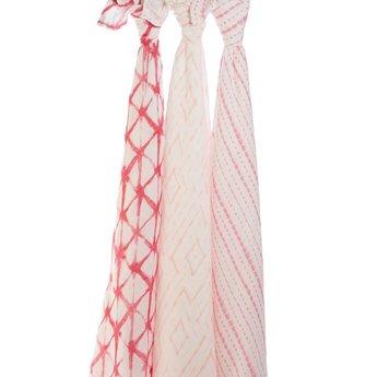 Aden + Anais *Paquet de 3 Couvertures Douces et Soyeuses de Aden et Anais/Aden and Anais Silky Soft Swaddles 3-Pack, Berry Shibori