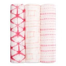 Aden + Anais Paquet de 3 Couvertures Douces et Soyeuses de Aden et Anais/Aden and Anais Silky Soft Swaddles 3-Pack, Berry Shibori