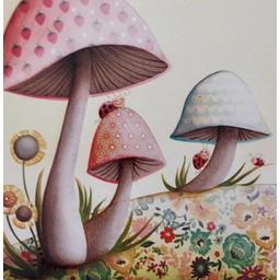 Catsa Carte de Souhaits Catsa/Catsa Greeting Card, Champignons/Mushroom