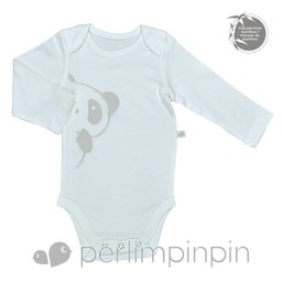 Perlimpinpin Cache-Couche à Manches Longues Panda en Bambou de Perlimpinpin/Perlimpinpin Panda Long Sleeve Bamboo Onesie