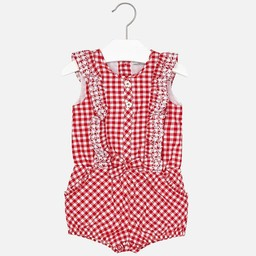 Mayoral *Combinaison Courte Carreautée de Mayoral/Mayoral Short Checkered Romper