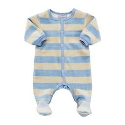 Coccoli Pyjama à Pattes en Velours avec Rayures de Coccoli/Coccoli Velvet Footie with Stripes Bleu et Beige/Blue and Beige 9 mois/months