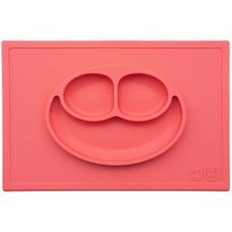 Ezpz EzPz - Napperon et Assiette Tout-en-un Happy Mat/Happy Mat All-in-one Placemat and Plate, Corail/Coral
