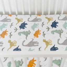 Little Unicorn Little Unicorn - Drap Contour en Percale de Coton/Cotton Percale Fitted Sheet, Ami Dino/Dino Friends