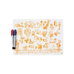 Modern-Twist Mini Napperon en Silicone à Colorier et 2 Feutres Effaçables Modern Twist/Modern Twist Doodle Mat Set and 2 Recycled Markers, Alphabet Animals