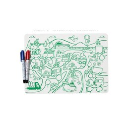 Modern-Twist Mini Napperon en Silicone à Colorier et 2 Feutres Effaçables Modern Twist/Modern Twist Doodle Mat Set and 2 Recycled Markers, Transport
