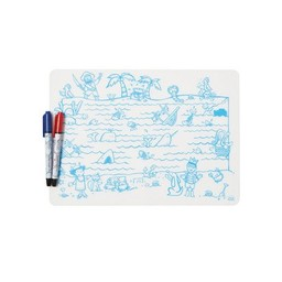 Modern-Twist Mini Napperon en Silicone à Colorier et 2 Feutres Effaçables Modern Twist/Modern Twist Doodle Mat Set and 2 Recycled Markers, Carte aux Trésors/Treasure Map