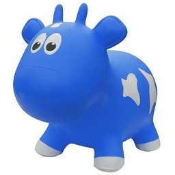 Farm Hoppers Farm Hoppers- Ballon Sauteur/Jumping Animals, Vache - Bleu/Cow - Blue