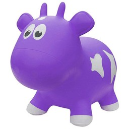 Farm Hoppers Farm Hoppers- Ballon Sauteur/Jumping Animals, Vache - Mauve/Cow - Purple