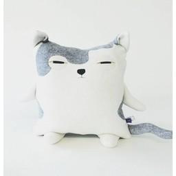 Velvet Moustache Velvet Moustache - Peluche Coussin Minet/Kitty Plush Cushion, Gris/Grey