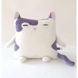 Velvet Moustache Peluche Coussin Minet de Velvet Moustache/Velvet Moustache Kitty Plush Cushion, Mauve/Purple