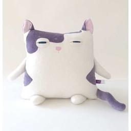 Velvet Moustache Velvet Moustache - Peluche Coussin Minet/Kitty Plush Cushion, Mauve/Purple