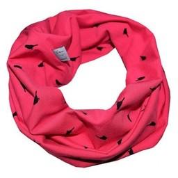 L&P Foulard Anneau en Coton de L&P/L&P Infinity Cotton Scarf, Oiseaux Rose Magenta/Birds Pink Magenta
