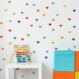 ADzif *Autocollants Muraux de ADzif/ADzif Wall Stickers, Petits Coeurs Multicolores/Multicolor Little Hearts
