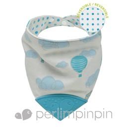 Perlimpinpin Bavoir de Dentition Réversible de Perlimpinpin/Perlimpinpin Reversible Theeting Bib, Montgolfières/Hot Air Ballons