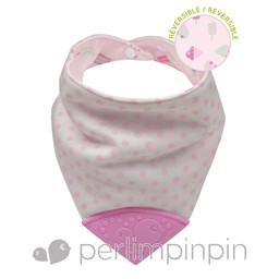 Perlimpinpin Perlimpinpin - Bavoir de Dentition Réversible/Reversible Theeting Bib, Crème Glacée/Ice Cream