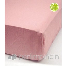 Perlimpinpin *Drap Contour en Bambou pour Bassinette de Perlimpinpin/Perlimpinpin Crib Bamboo Fitted Sheet, Rose/Pink