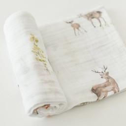 Little Unicorn Little Unicorn - Couverture en Mousseline de Coton à l'Unité/Single Cotton Muslin Blanket, Petit Cerf/Oh Deer