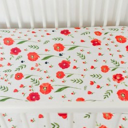 Little Unicorn Little Unicorn - Drap Contour en Percale de Coton/Cotton Percale Fitted Sheet, Coquelicots/Summer Poppy