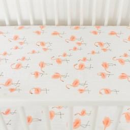 Little Unicorn Little Unicorn - Drap Contour en Percale de Coton / Cotton Percale Fitted Sheet, Flamants/Pink Ladies