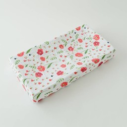 Little Unicorn Little Unicorn - Housse à Matelas à Langer en Mousseline de Coton/Cotton Muslin Changing Pad Cover, Coquelicot/Summer Poppy