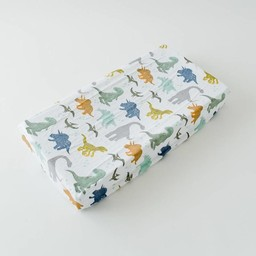 Little Unicorn Little Unicorn - Housse à Matelas à Langer en Mousseline de Coton/Cotton Muslin Changing Pad Cover, Dinosaures/Dino Friends